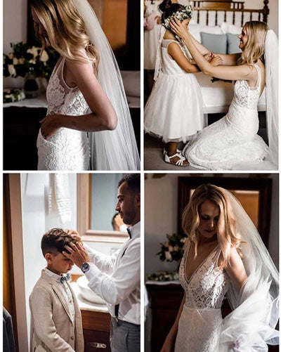 www.simidress.com | Gorgeous Ivory Lace V-neck Mermaid Country Wedding Dresses | Bridal Gowns, SW274