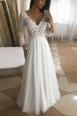 White Lace A-line V-neck Long Sleeves Chiffon Wedding Dresses | Bridal Gowns, SW275