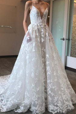 Gorgeous White Tulle A-line Deep V-neck Court Train Lace Wedding Dresses, SW277
