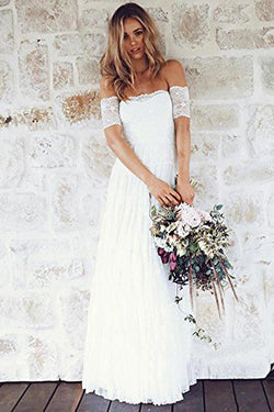 Fabulous White Bohemian Strapless Off Shoulder Lace Wedding Dress Online, SW279