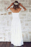 Fabulous White Bohemian Strapless Off Shoulder Lace Wedding Dress Online, SW279 | simidress.com