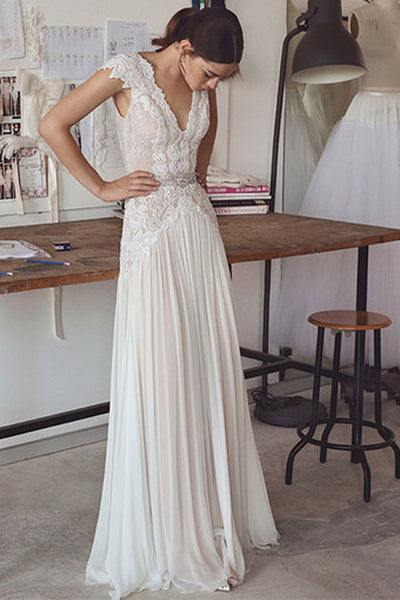 Simple A-line V-neck Cap Sleeves Beach Wedding Dresses With Lace Appliques, SW281