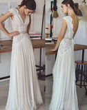 www.simidress.com | Simple A-line V-neck Cap Sleeves Beach Wedding Dresses With Lace Appliques, SW281