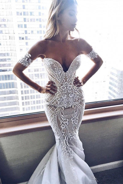 Gorgeous White Lace Mermaid Sweetheart Neck Wedding Dresses | Bridal Dress, SW282