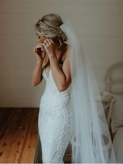 www.simidress.com | Gorgeous White Lace Mermaid Sweetheart Neck Wedding Dresses | Bridal Dress, SW282-3