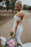 www.simidress.com | Gorgeous White Lace Mermaid Sweetheart Neck Wedding Dresses | Bridal Dress, SW282-4