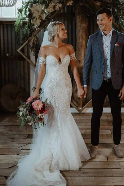 www.simidress.com | Gorgeous White Lace Mermaid Sweetheart Neck Wedding Dresses | Bridal Dress, SW282-5