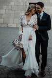 Chiffon A-line V-neck Side Slit Long Sleeves Wedding Dress with Flowers Appliques, SW284