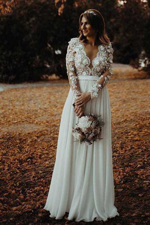 www.simidress.com | Chiffon A-line V-neck Side Slit Long Sleeves Wedding Dress with Flowers Appliques, SW284-2
