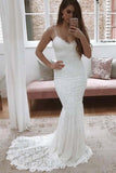 White All Over Lace Mermaid Spaghetti Straps Wedding Dresses with Train, SW285