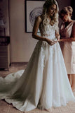 Gorgeous Beaded Tulle A-Line Sweetheart Sweep Train Wedding Dress with Appliques, SW286