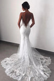 Fabulous Backless Spaghetti Straps Lace Mermaid Wedding Dresses | Bride Dress, SW287