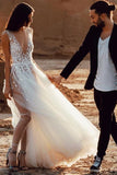 Fabulous See-through A-line V-neck Beach Wedding Dresses with Side Slit, SW288