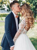 Find Elegant Tulle Long Sleeves A-line See Through Backless Wedding Dresses, SW289 at simidress.com