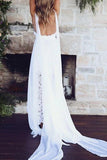 Gorgeous White Spaghetti Straps A-line V Neck Side Slit Beach Wedding Dress, SW290