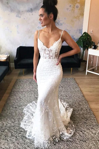Gorgeous Spaghetti Straps Lace Mermaid V-neck Wedding Dresses with Train, SW291