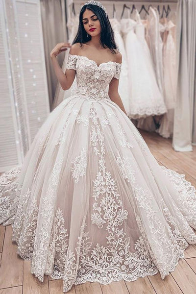 Luxurious  Ivory Lace Ball Gown Off Shoulder Lace Up Wedding Dress with Appliques, SW292