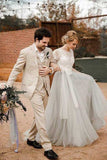 Fabulous Lace Tulle Silver Country Short Sleeve Wedding Dresses with Sash, SW293