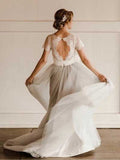 Fabulous Lace Tulle Silver Country Short Sleeve Wedding Dresses with Sash, SW293 | www.simidress.com