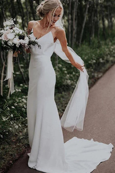 www.simidress.com | Simple White Mermaid Spaghetti Straps V Neck Satin Boho Beach Wedding Dress, SW295