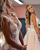 www.simidress.com supply Gorgeous Tulle A-line Backless Boho Floral Appliques Beach Wedding Dresses, SW296