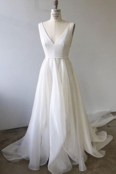 Simple Ivory A-line V-neck White Wedding Dresses Prom Dress With Court Train, SW297