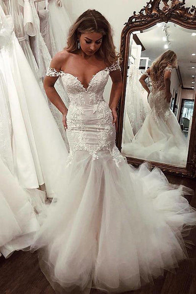 Gorgeous Mermaid Lace V-neck Off the Shoulder Wedding Dress with Appliques, SW298