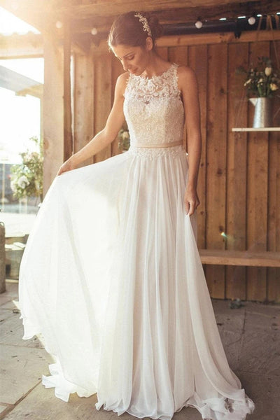 Elegant Ivory A-Line Chiffon Beaded Appliques See Through Neckline Wedding Dress, SW300