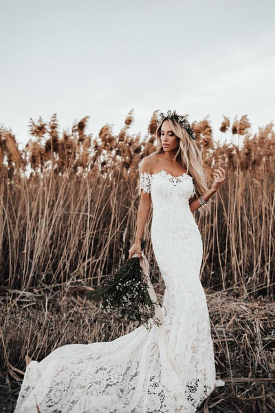 Ivory Rustic Lace Mermaid Illusion Neckline Beach Wedding Dress With Train, SW302