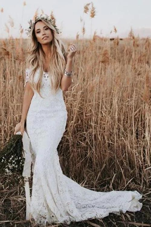 www.simidress.com | Ivory Rustic Lace Mermaid Illusion Neckline Beach Wedding Dress With Train, SW302