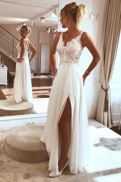 Elegant Chiffon Lace Spaghetti straps Appliques Beach Wedding Dresses with Split, SW303