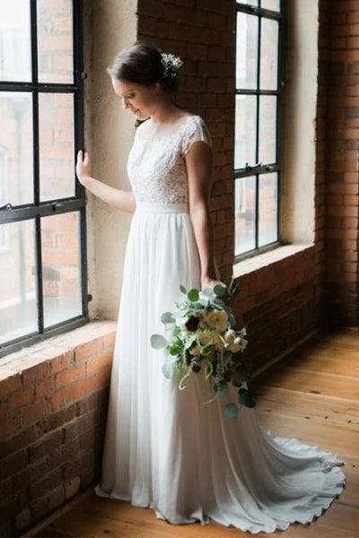 Romantic Scoop Chiffon Open Back Wedding Dresses Short Train Bridal Dress, SW304