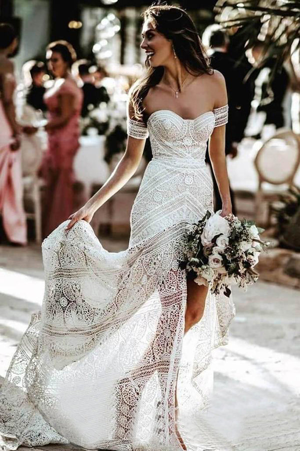 Fabulous White Lace Sweetheart Sheath Beach Wedding Dresses With Slit, SW307