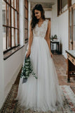 Simple White Tulle And Lace A-line V-neck Open Back Beach Wedding Dresses, SW309