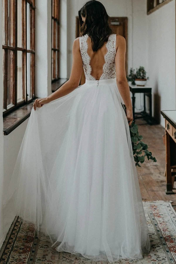 www.simidress.com offer Simple White Tulle And Lace A-line V-neck Open Back Beach Wedding Dresses, SW309