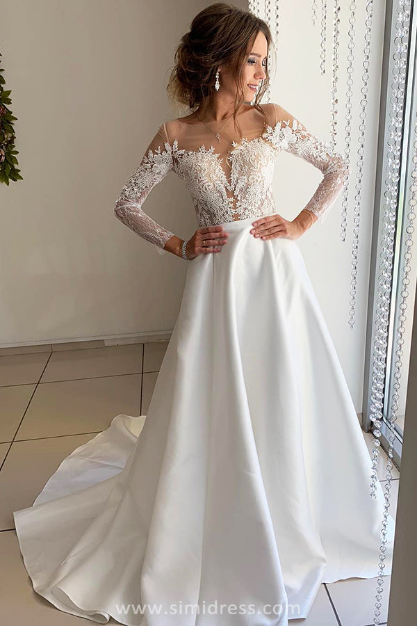 Beautiful Satin Long Sleeves Ball Gown Open Back Wedding Dresses with Appliques, SW314