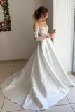 Find Beautiful Satin Long Sleeves Ball Gown Open Back Wedding Dresses with Appliques, SW314 at www.simidress.com