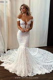 Gorgeous Ivory Lace Mermaid Off the Shoulder Wedding Dress with Sweep Train, SW315