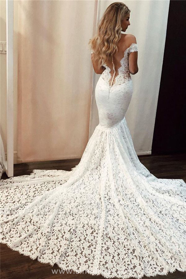 Find Gorgeous Ivory Lace Mermaid Off the Shoulder Wedding Dress with Sweep Train, SW315 at www.simidress.com