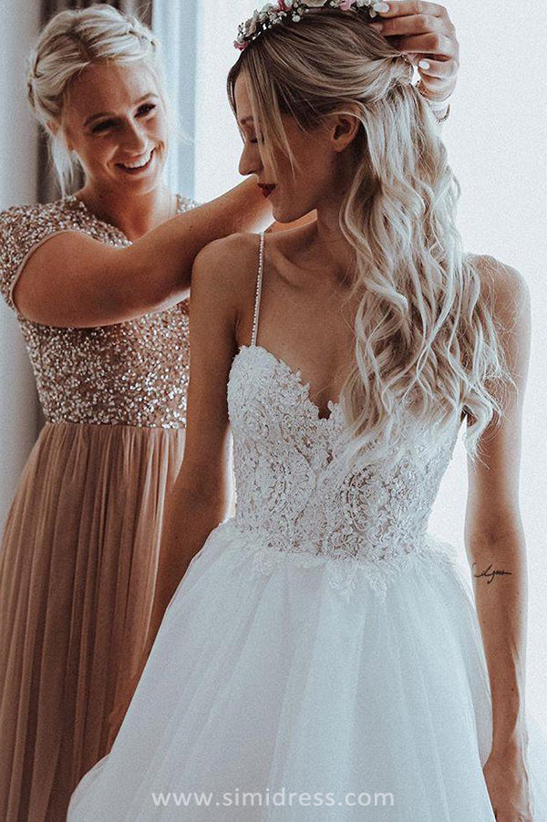 Simple White Ball Gown Spaghetti Straps Sweetheart Wedding Dresses Wit Simidress