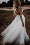 Find Elegant White Tulle Lace Spaghetti Straps 3D Flower Wedding Dresses, SW324 at www.simidress.com with the best price