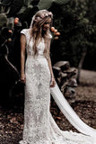 Gorgeous Sheath Boho Cap Sleeve Vintage Lace Rustic Wedding Dress with Train, SW327