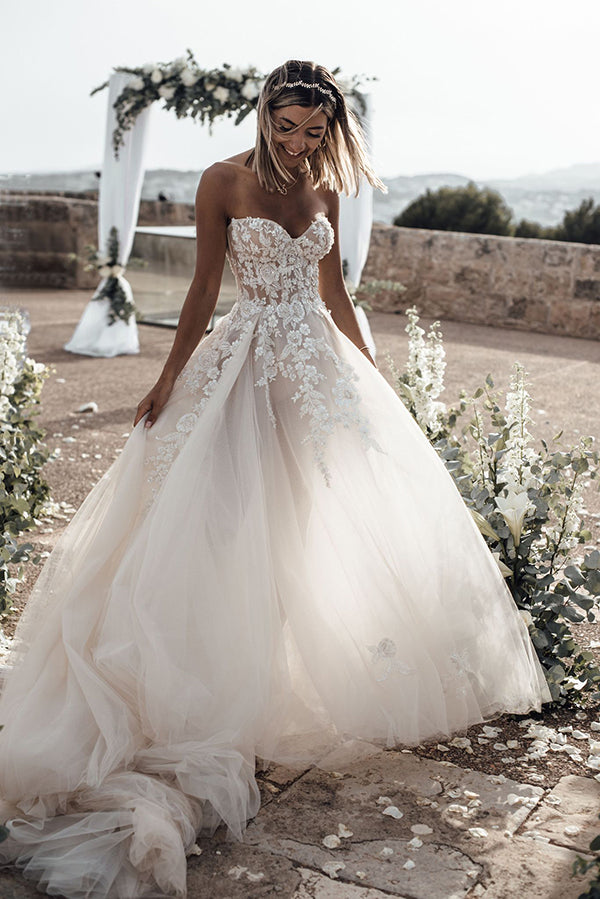 Beautiful A-line See Through Sweetheart Sweep Train Long Wedding Dresses, SW328