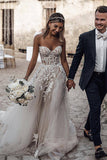 Buy Beautiful A-line See Through Sweetheart Sweep Train Long Wedding Dresses, SW328 at www.simidress.com