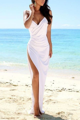 Sheer Back Beach Wedding Dresses Side Slit Spaghetti Straps Wedding Gown Simple Sexy Dresses SW32