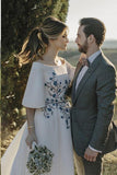 Elegant Wedding Dress, Half Sleeve Bateau Embroidery Romantic Bridal Gown, SW330