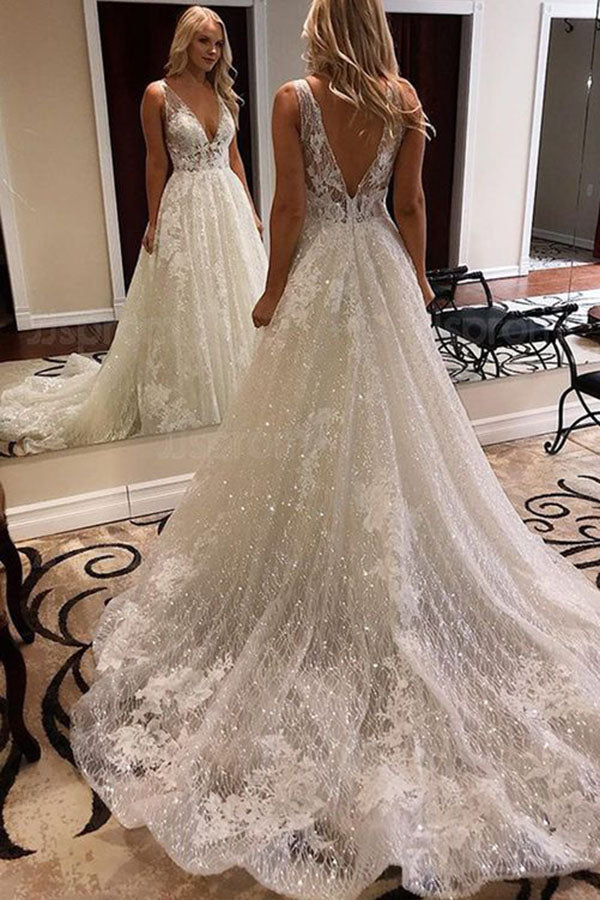 Sparkly Lace Ball Gown V Neck Open Back Wedding Dress With Appliques Simidress