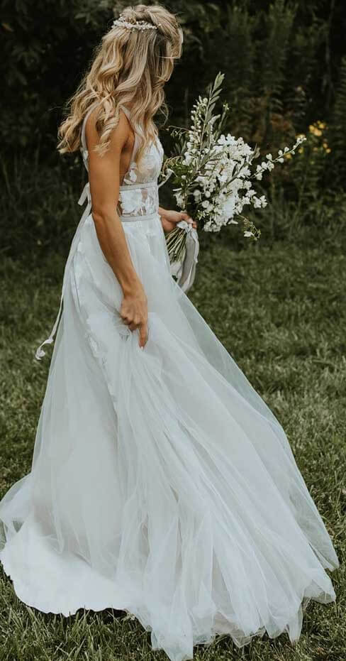 Ivory A-line V-neck Tulle Wedding Dresses Bridal Gowns With Appliques, SW360 | wedding dresses online | wedding gowns | wedding dress | bridals | Simidress.com
