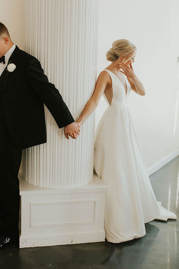 Simple Satin A Line Deep V-neck Wedding Dress With Sweep Train, SW384 | ivory wedding dresses | simple wedding dresses | bridal dresses | bridal gowns | cheap wedding dresses | Simidress.com