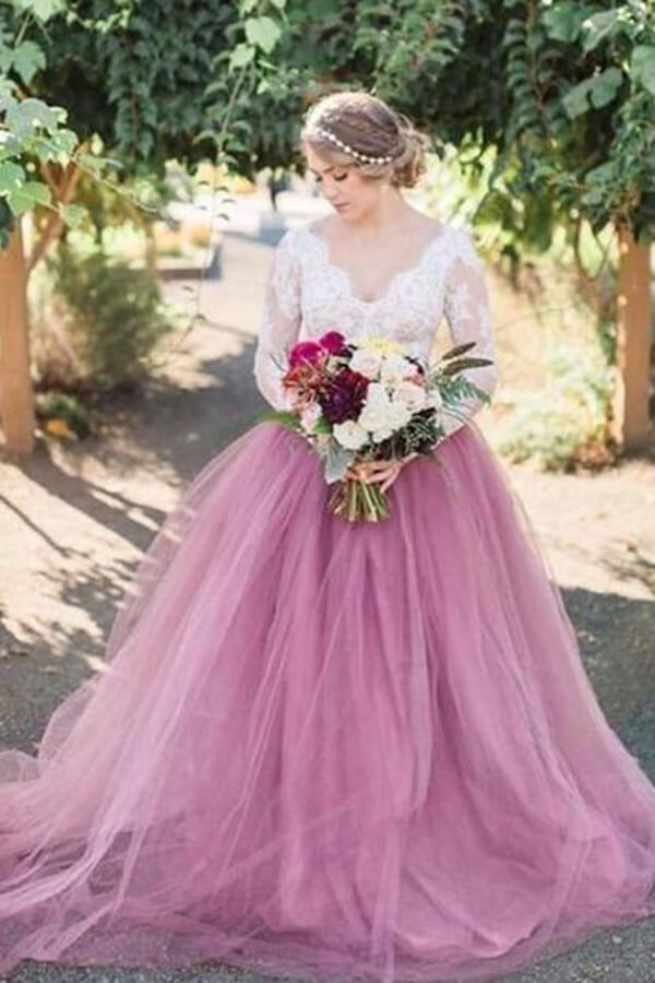 Mauve Lace Long Sleeves See Through Wedding Dresses Sw385 Simidress